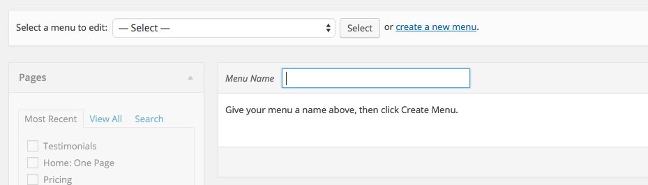 Creating a New Menu