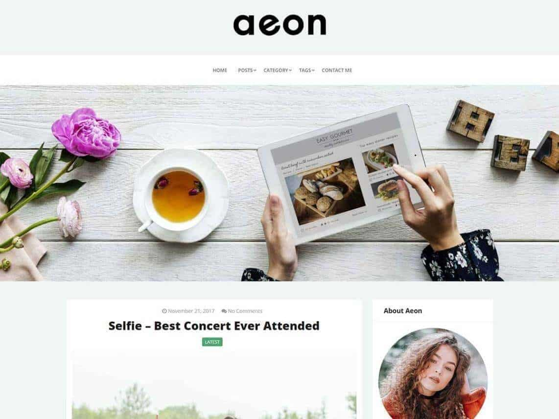 preview screenshot of AeonBlog WP blog theme