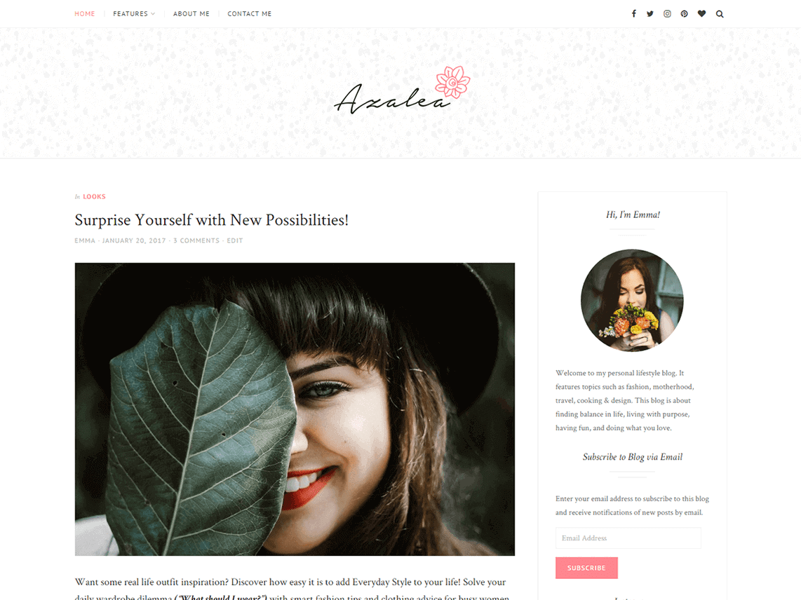 preview screenshot of Azalea WordPress blog theme
