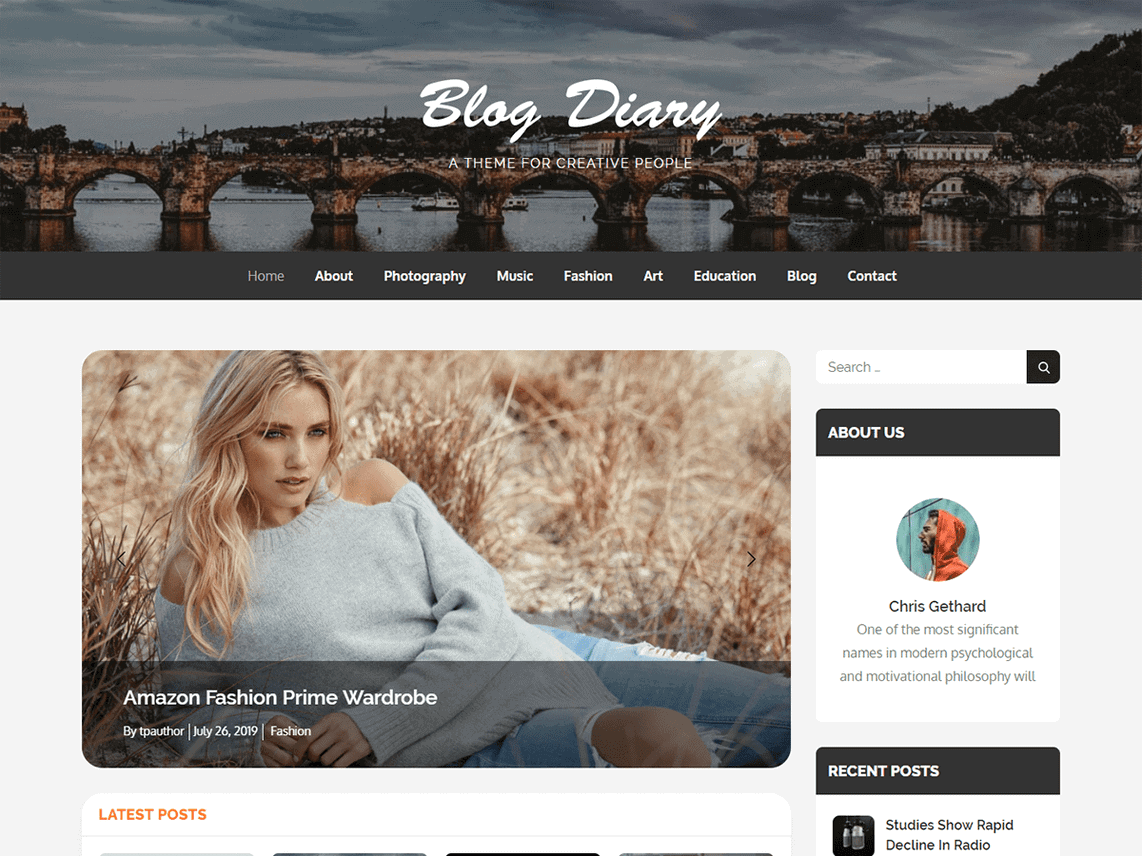 preview screenshot of Blog Diary WordPress theme blog