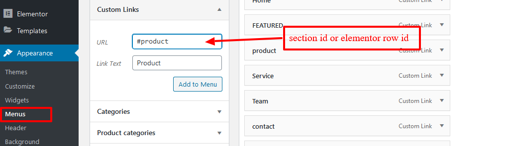 assign the ID with a menu