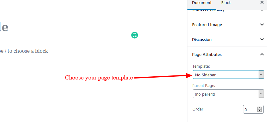 Page Template in Page Attributes metabox