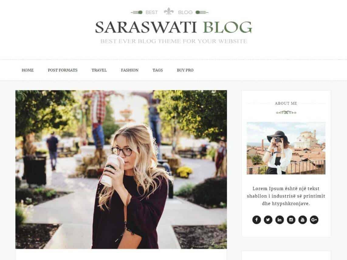 preview screenshot of Saraswati Blog WordPress theme