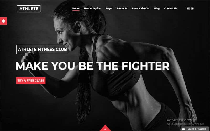 preview screenshot of Athlete Fitness - Gym and Sport WordPress theme