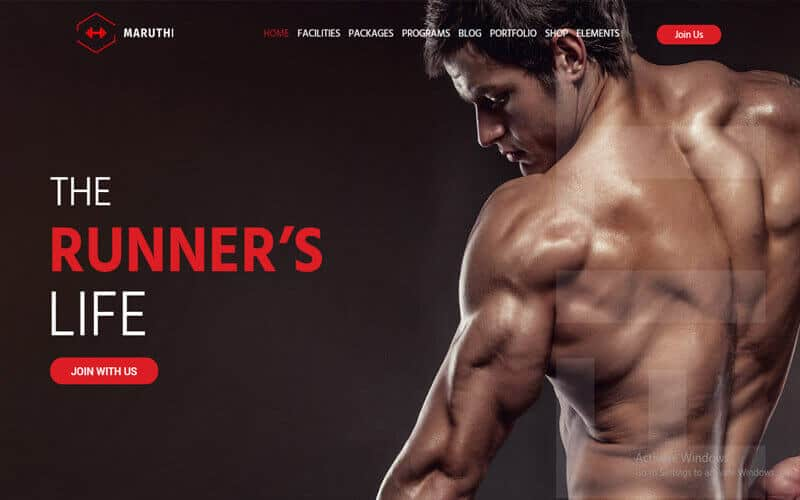 preview screenshot of Maruthi - Sports Team, Fitness Gym theme