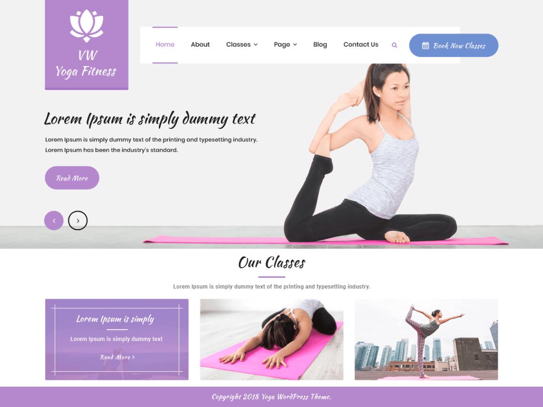 preview screenshot of VW Yoga Fitness WordPress themes