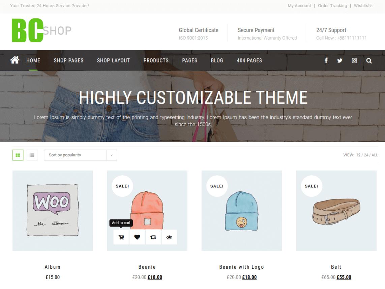 Preview screenshots of BC Shop