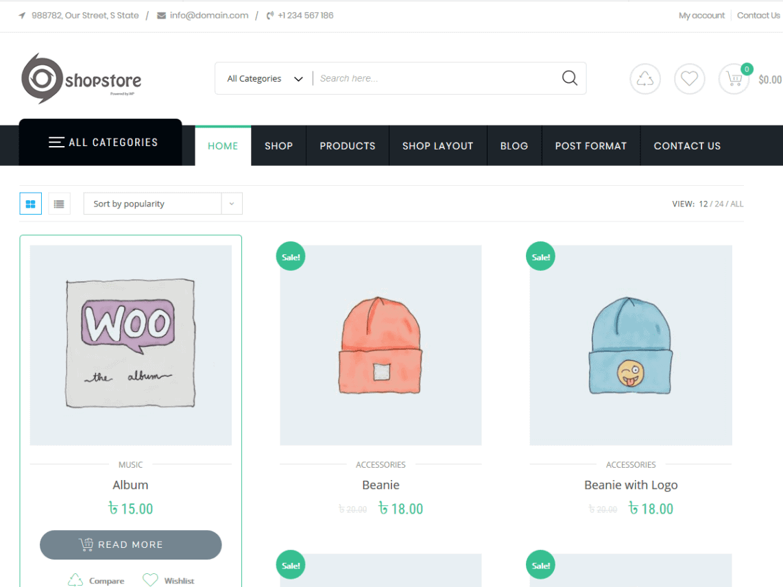 shopstore – free ecommerce theme for wordpress