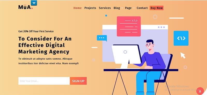 Preview screenshots of Digital Agency Lite