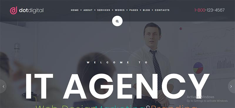 Preview screenshots of DotDigital – Web Design Agency WordPress Theme