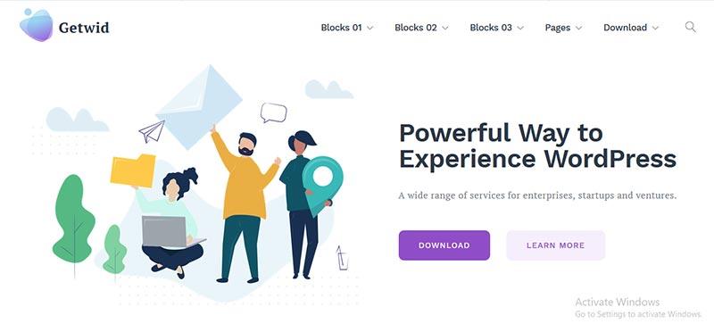 Preview screenshots of Getwid Base WordPress Premium Theme