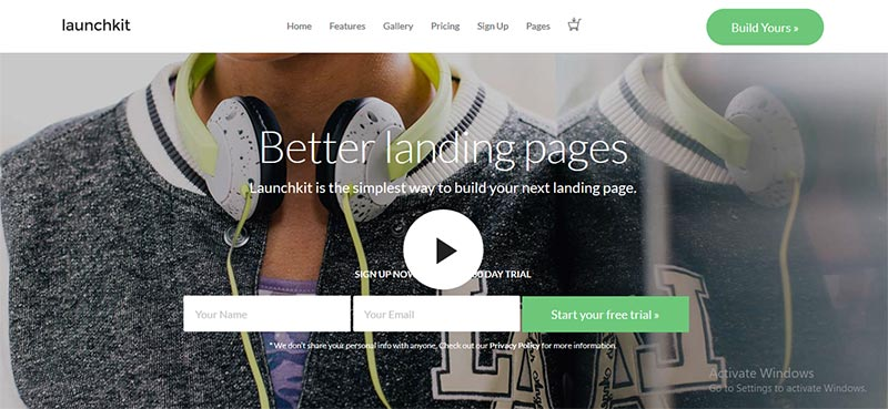 Preview screenshots of Launchkit Landing Page & Marketing WordPress Theme