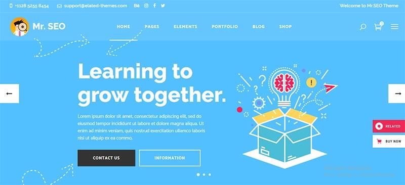 Preview screenshots of Mr. SEO - Social Media Marketing Agency Theme