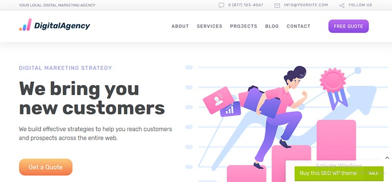 Preview screenshots of SEOWP - SEO & Digital Marketing WordPress Theme