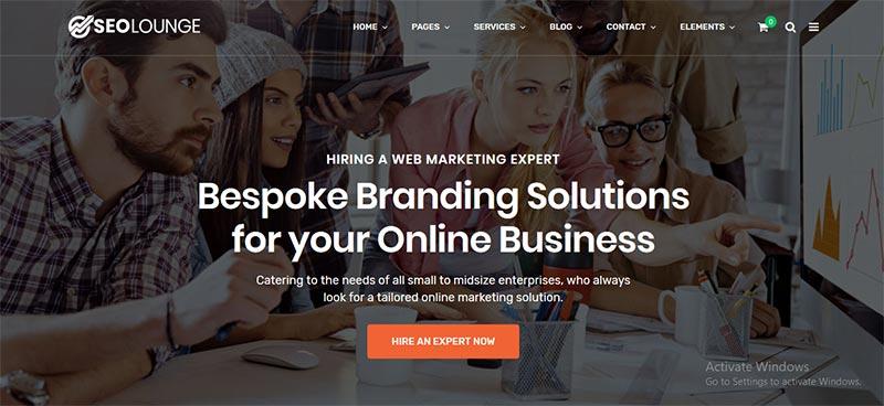 Preview screenshots of SEO Lounge - Digital Marketing Theme