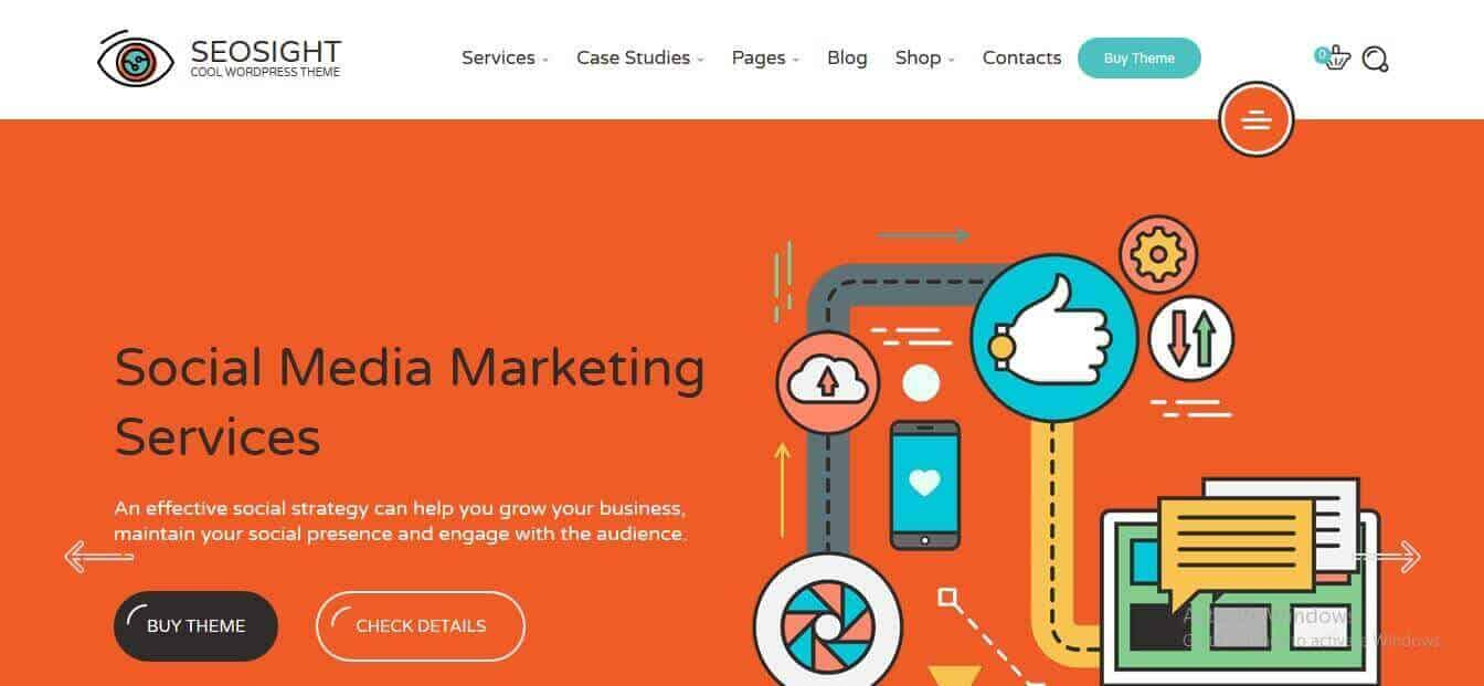 Preview screenshots of Seosight - Digital Marketing Agency WordPress Theme