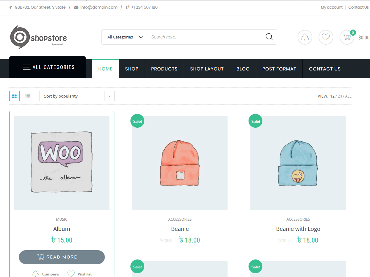 Preview screenshots of Shop Store