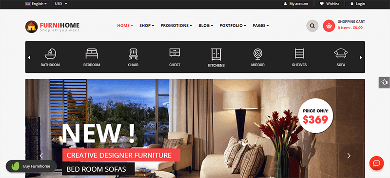 Preview screenshots of FurniHome - Furniture Shop WordPress WooCommerce Theme