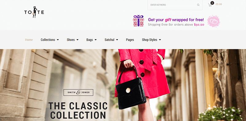 Preview screenshots of Tote - Fashion Shop Theme
