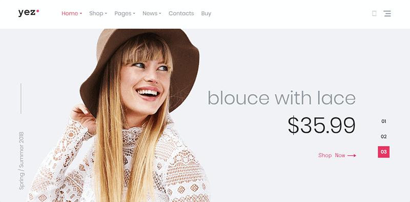 Preview screenshots of Yez - WooCommerce Shop