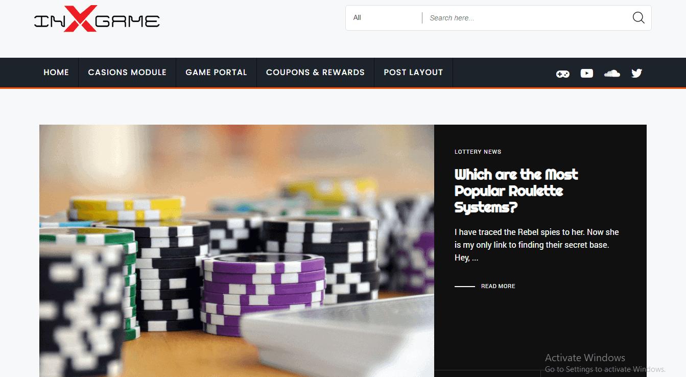 Preview screenshots of Inx-Game - Gambling, Casino Reviews, News and Casino Affiliate WordPress Theme