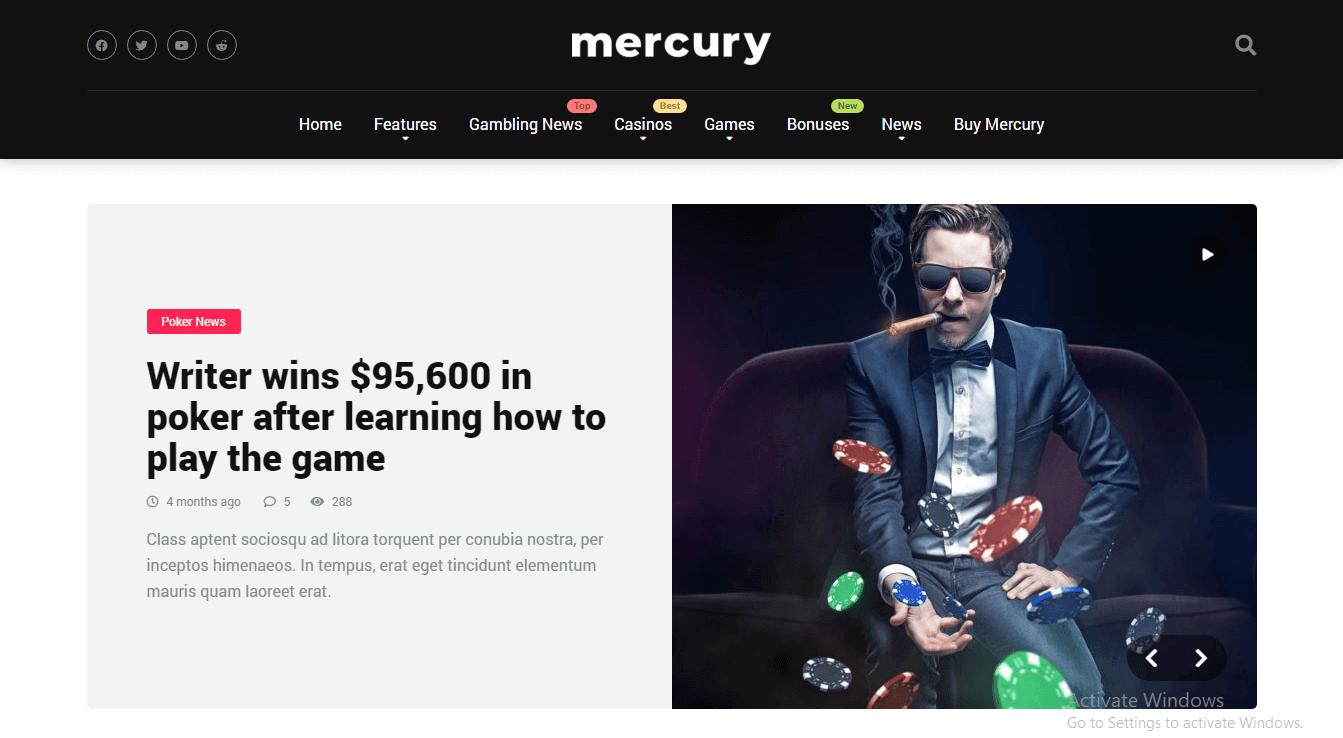 Preview screenshots of Mercury - Gambling and Casino Affiliate WordPress Theme News and Reviews