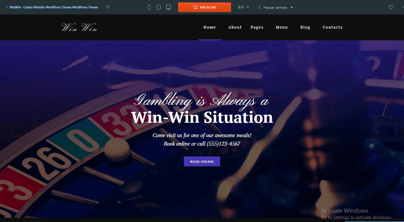 Preview screenshots of WinWin - Casino Website WordPress Theme