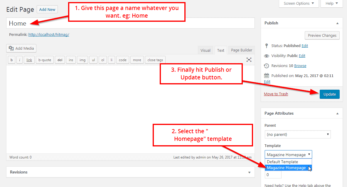 Preview screenshots to create a Home Page with a Shopstore theme