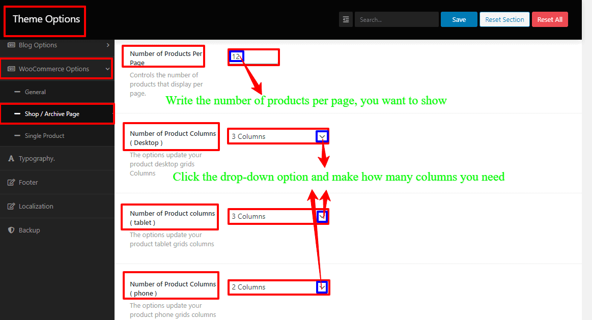 Screenshots of setting the number of products per page and columns of WordPress grocery store theme