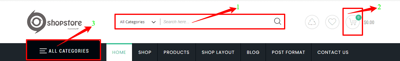Preview screenshots of the Header Product Search bar, Product mini Cart, and All Categories Menu