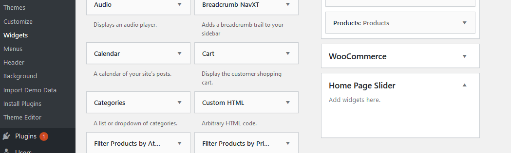 Hero section HomePage Slider of WordPress shop theme