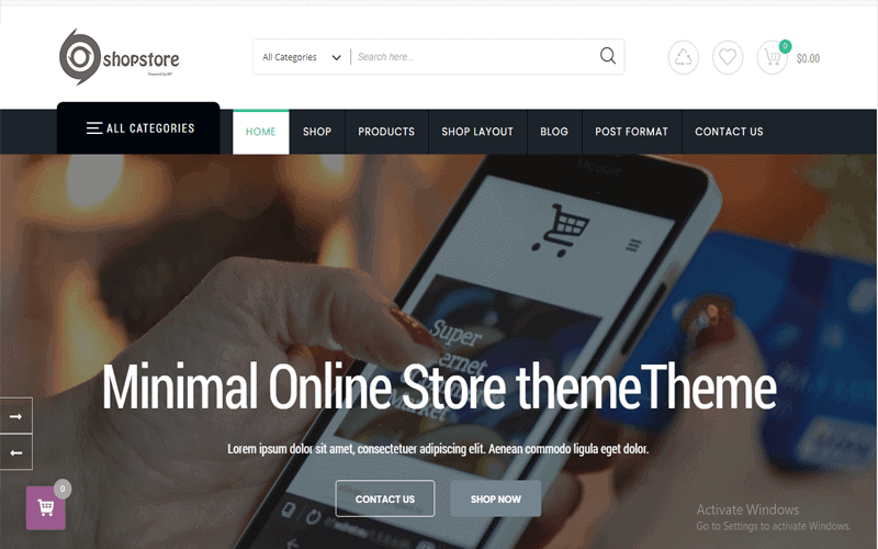 Preview screenshot for the WordPress Store theme named ShopStore WordPress/WooCommerce Store Theme