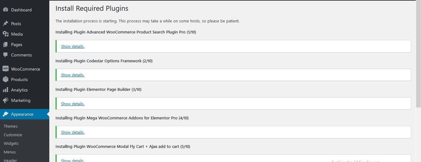 WordPress Store theme Require Plugin