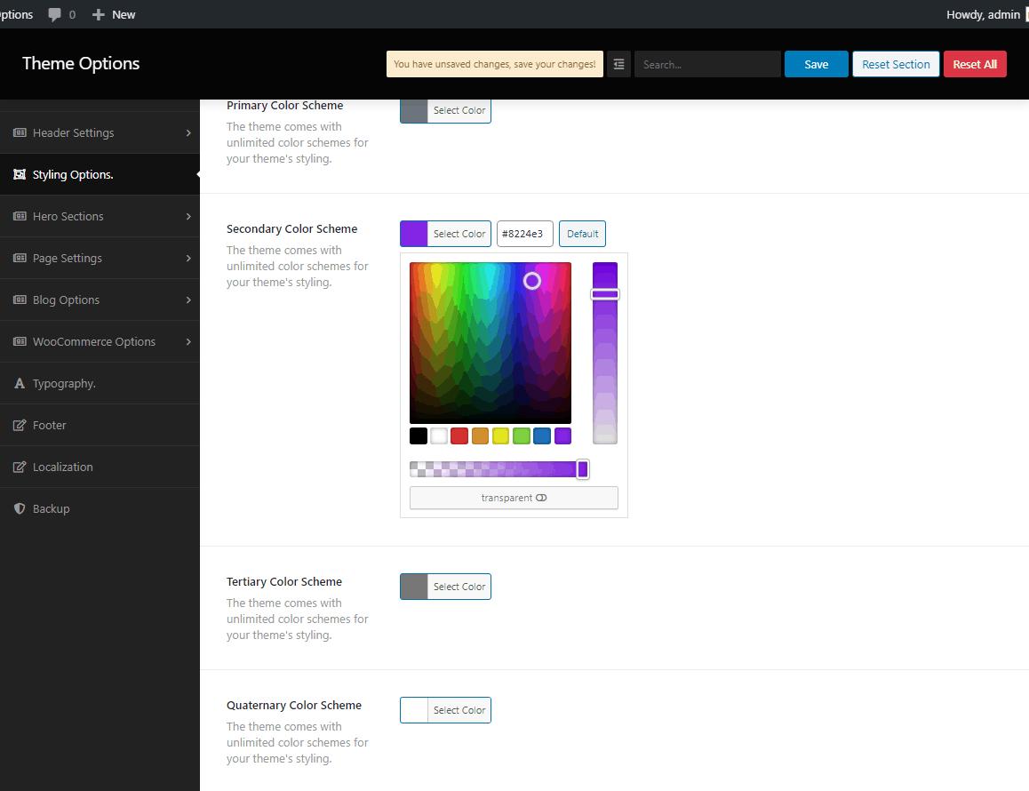 Screenshot of global color scheme