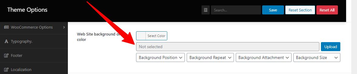 Screenshot of website background/color