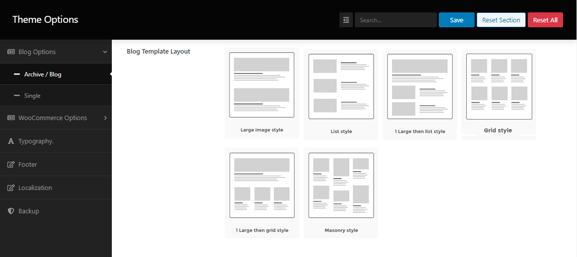 Change the blog template layout