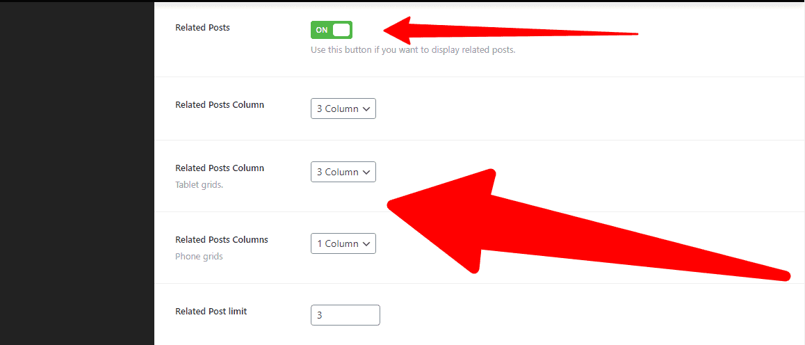 Enable the Related Posts and Column settings