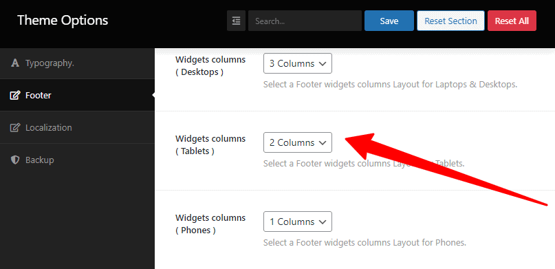 widgets columns
