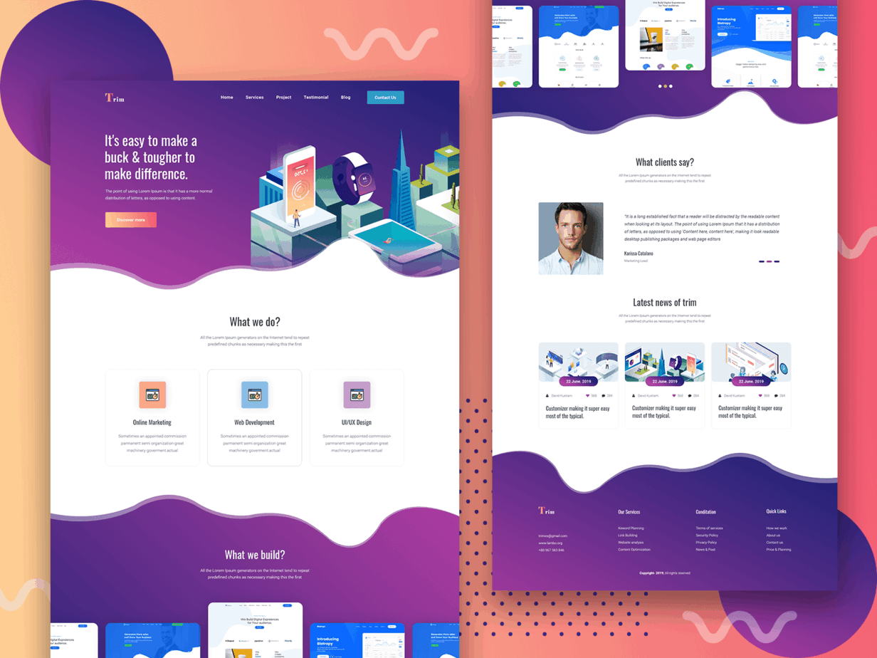 Trim  Free PSD Landing Page for Creative business